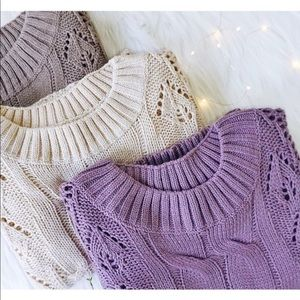 Sweaters - Purple Sweater, Cable Knit Puff Sleeve Oversized